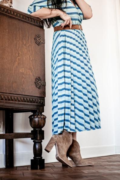 Plisy i pasy - sukienka retro